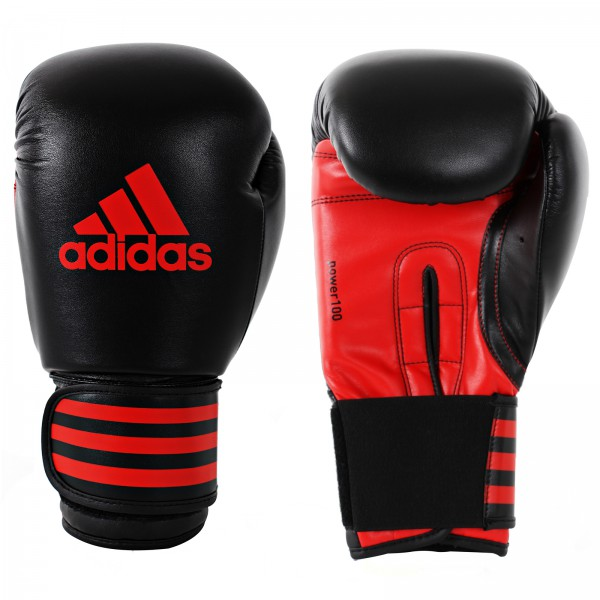 Adidas Power 100 Boxing Gloves in black / red – image 1