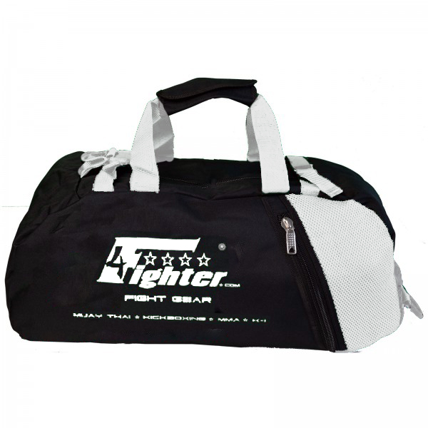 d9a5e6654 4Fighter mesh gym bag M / Duffelbag with backpack black-white 40x26x26cm