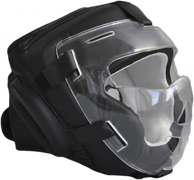 PHÖNIX Kopfschützer mit Visier - Echtleder schwarz ideal für Krav Maga, Kobudo, MMA etc.