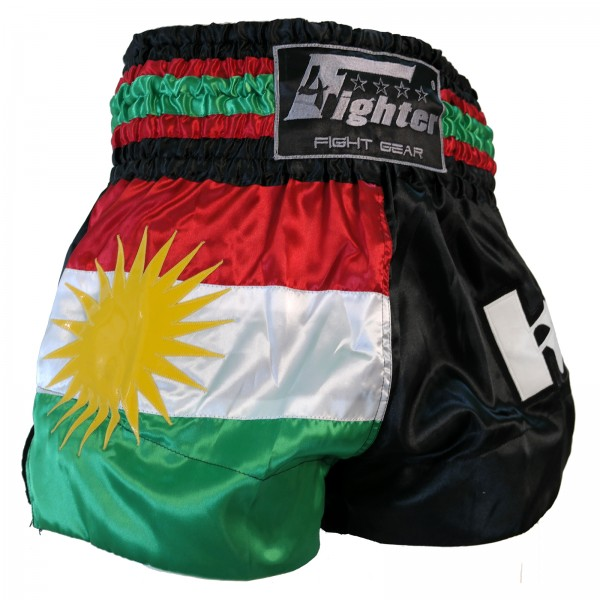 4Fighter Muay Thai Shorts Kurdistan in black / red-white-green national flag – image 7