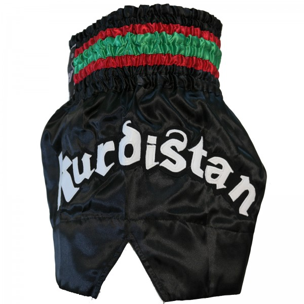 4Fighter Muay Thai Shorts Kurdistan in black / red-white-green national flag – image 6