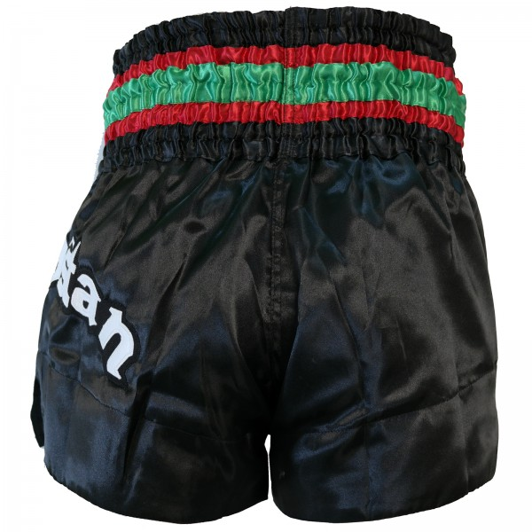 4Fighter Muay Thai Shorts Kurdistan in black / red-white-green national flag – image 4