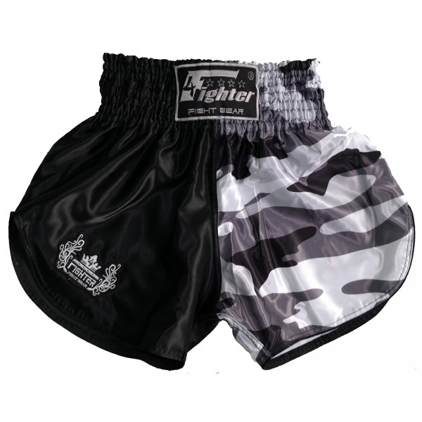 4Fighter Muay Thai Shorts camouflage black-grey-white with HIGH SLOTS