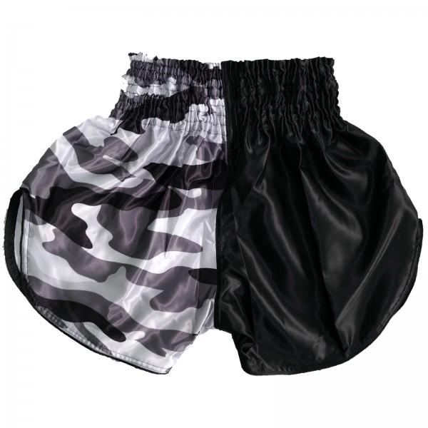 4Fighter Muay Thai Shorts Classic schwarz camouflage grau-weiss mit hohen Schlitzen – Bild 2