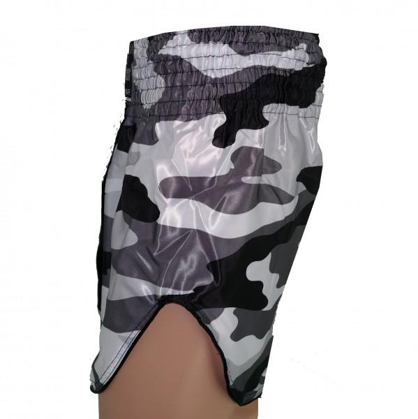 4Fighter Muay Thai Shorts Classic schwarz camouflage grau-weiss mit hohen Schlitzen – Bild 4