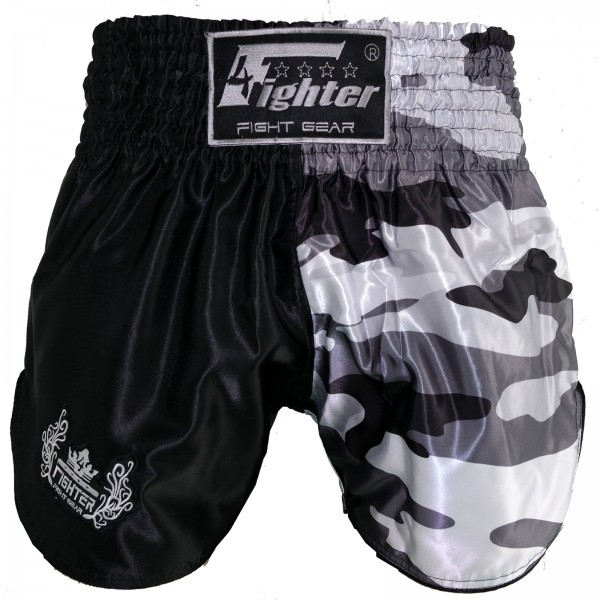 4Fighter Muay Thai Shorts camouflage black-grey-white with HIGH SLOTS – image 3