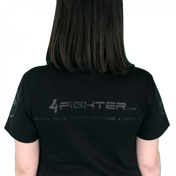 4Fighter T-shirt in black uni colors with white logo print Size S-XXL – image 7
