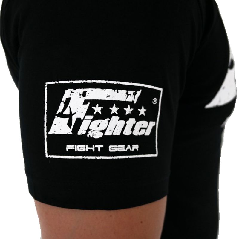 4Fighter WALK IN Support T-Shirt in schwarz unifarben mit weißem used 3D damaged Logo-Druck  – Bild 5