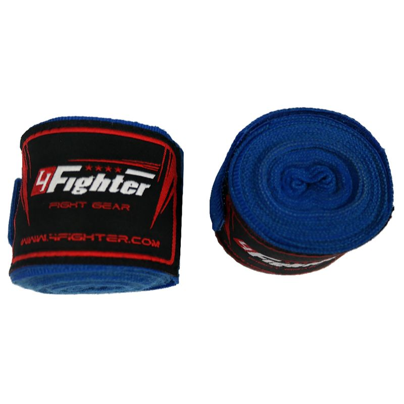 4Fighter Boxing bandages / handwraps 350cm elastic blue – image 2