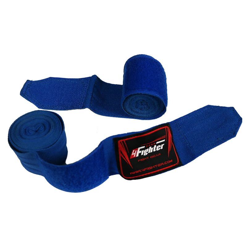 4Fighter Boxing bandages / handwraps 350cm elastic blue – image 1