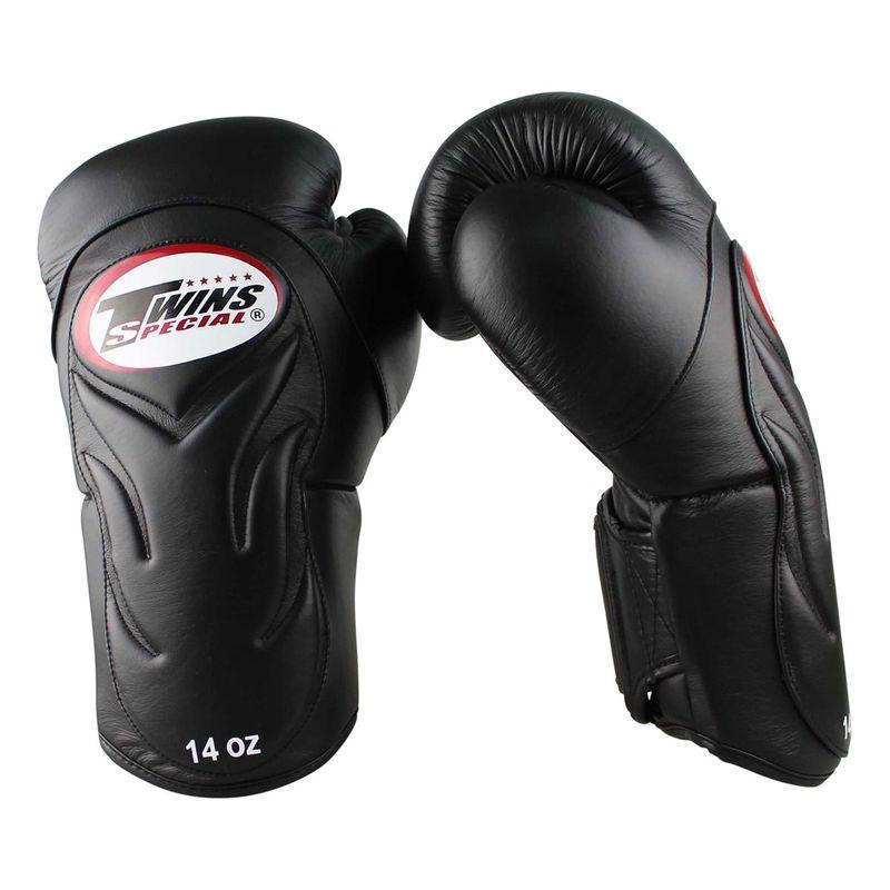 Twins Profi Leder Boxhandschuhe mit innovativer Polsterung der Aussenhand / schwarz – Bild 3