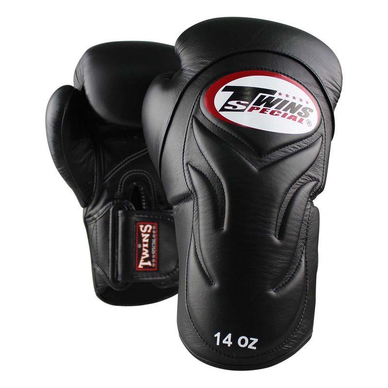 Twins Profi Leder Boxhandschuhe mit innovativer Polsterung der Aussenhand / schwarz – Bild 1