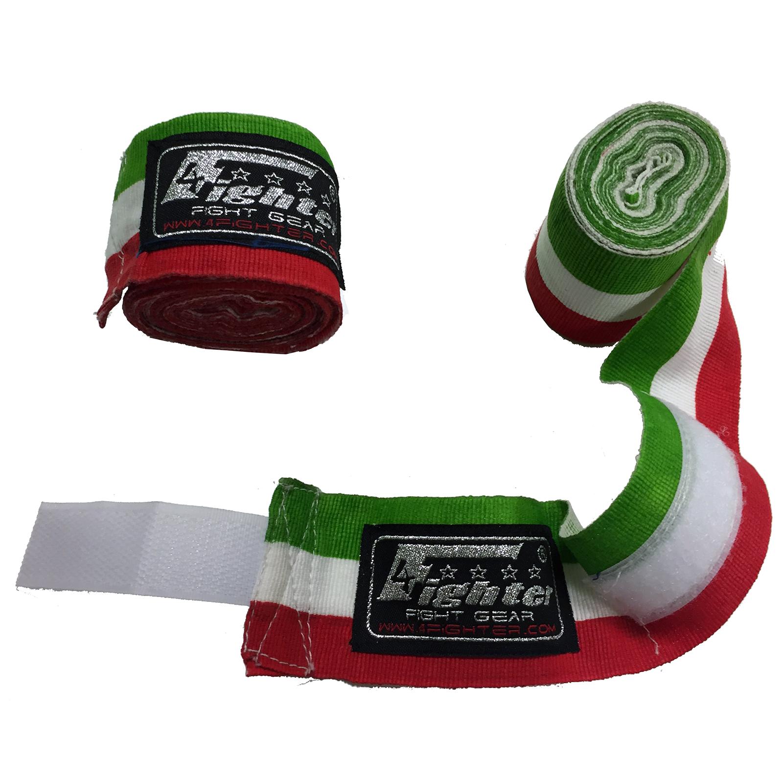 4Fighter Boxbandagen / Hand Bandagen 460cm semi-elastisch Italienflagge grün weiss rot