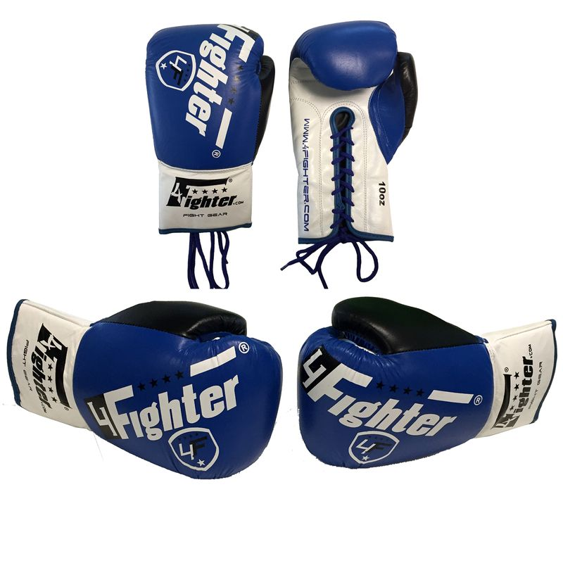 4Fighter Professional Competition Guantes de boxeo con cordones PRO FIGHT azul 10oz – Bild 1