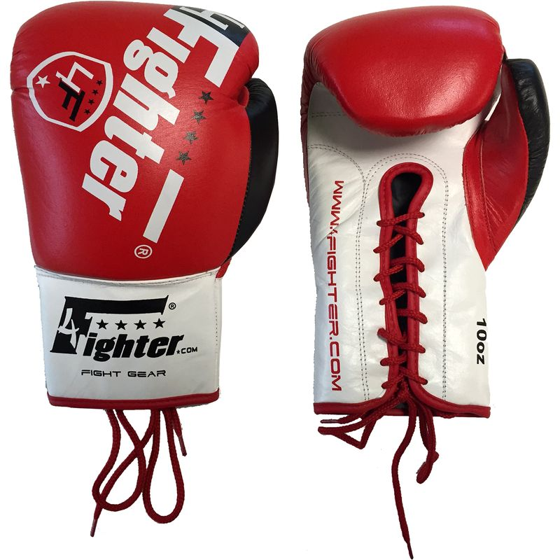 4Fighter Professional Competition boxing gloves PRO FIGHT leather with lacing red 10oz – image 3