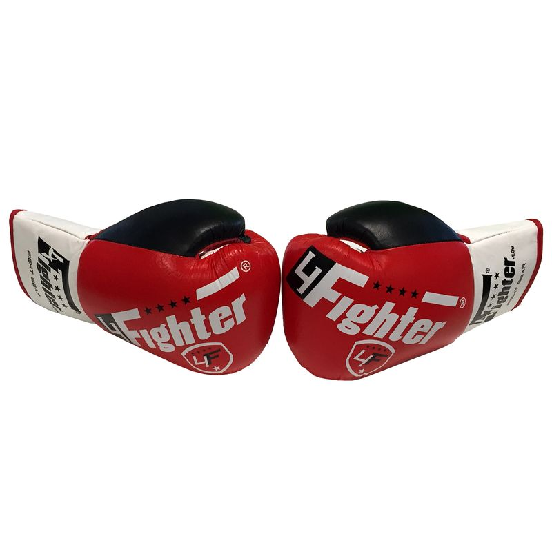 4Fighter Professional Competition boxing gloves PRO FIGHT leather with lacing red 10oz – image 4
