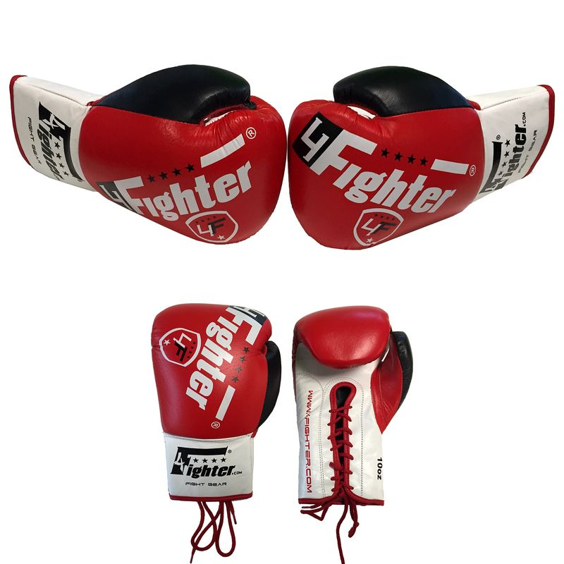 4Fighter professional competition boxing gloves leather with lacing PRO FIGHT red 10oz – image 1