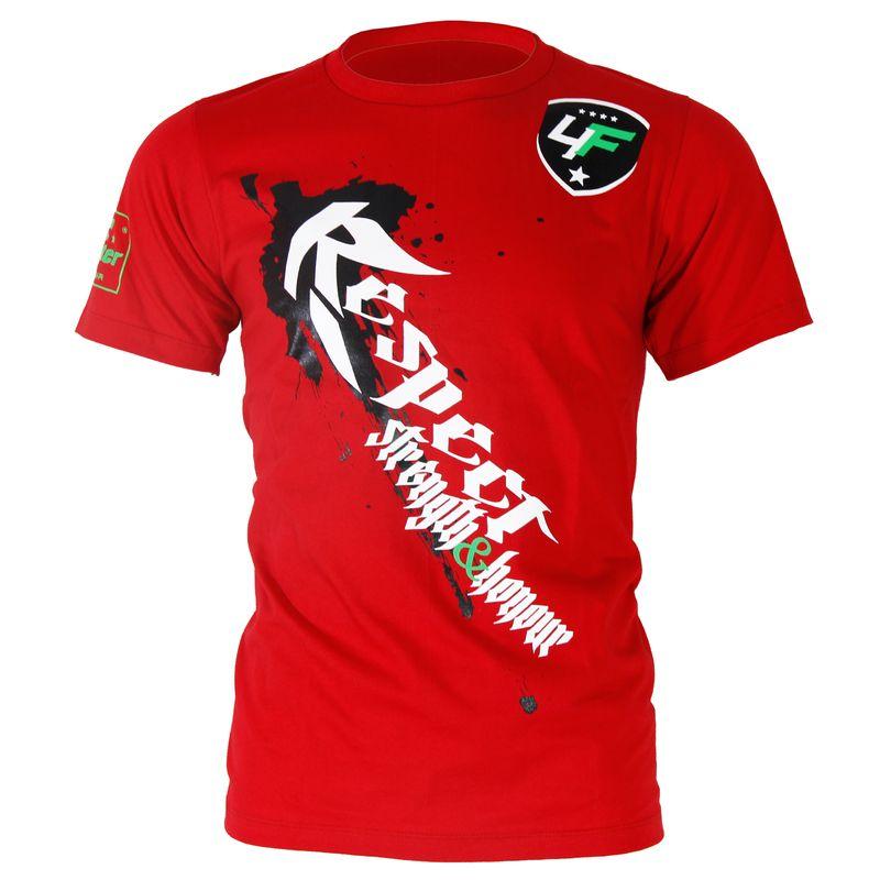 4Fighter camiseta en rojo con respeto impresión blanco / Fuerza y honor - Fuerza y honor / También para los niños. – Bild 1