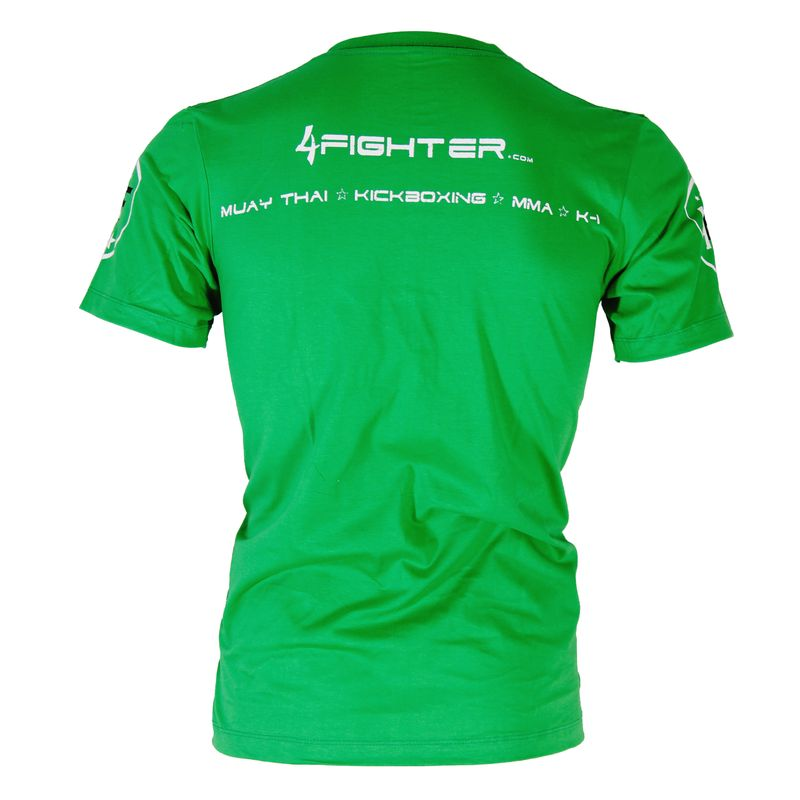 4Fighter T-shirt in green uni colors with white logo print used look Size XS-XXXL – image 4