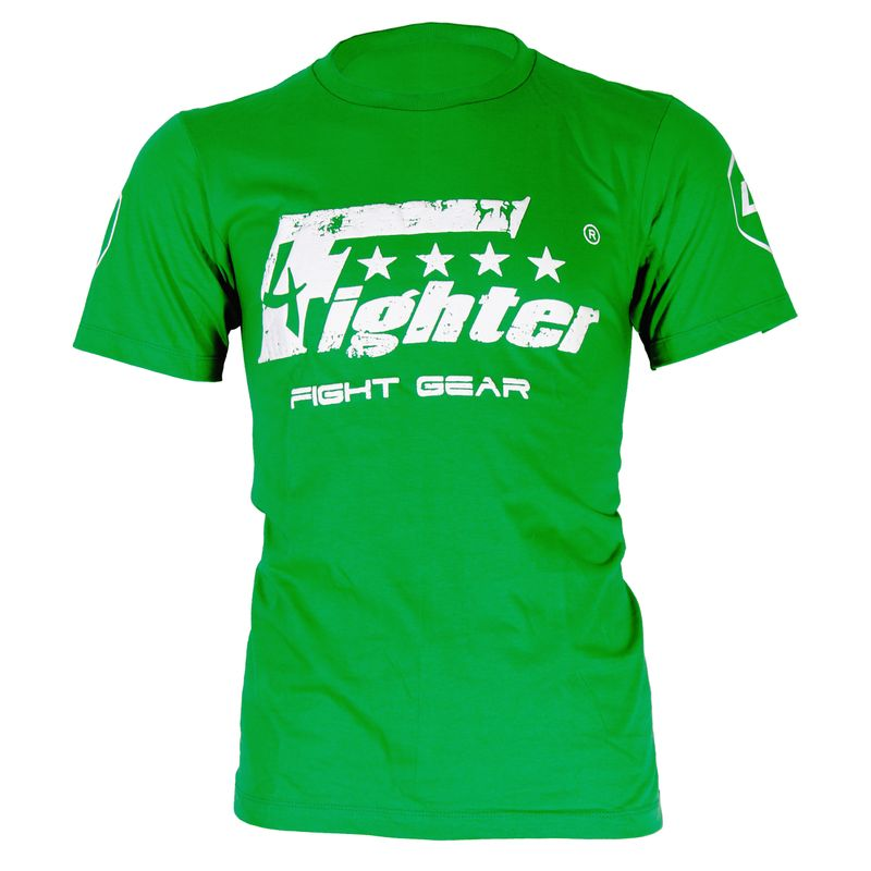 4Fighter T-shirt in green uni colors with white logo print used look Size XS-XXXL – image 1