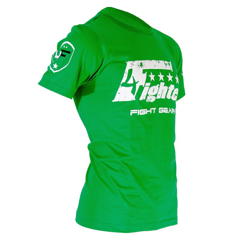 4Fighter T-shirt in green uni colors with white logo print used look Size XS-XXXL – image 3