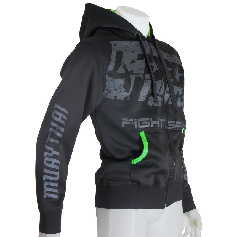 4Fighter Hoodie / Sweatshirt with pockets and hood black/neon green – image 1