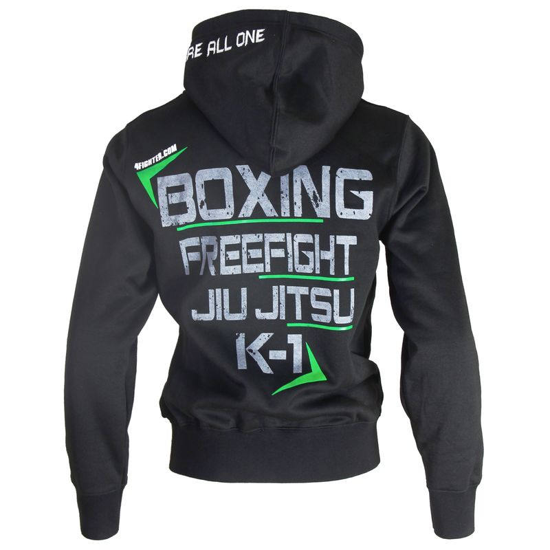 4Fighter Hoodie / Sweatshirt with pockets and hood black/neon green – image 2