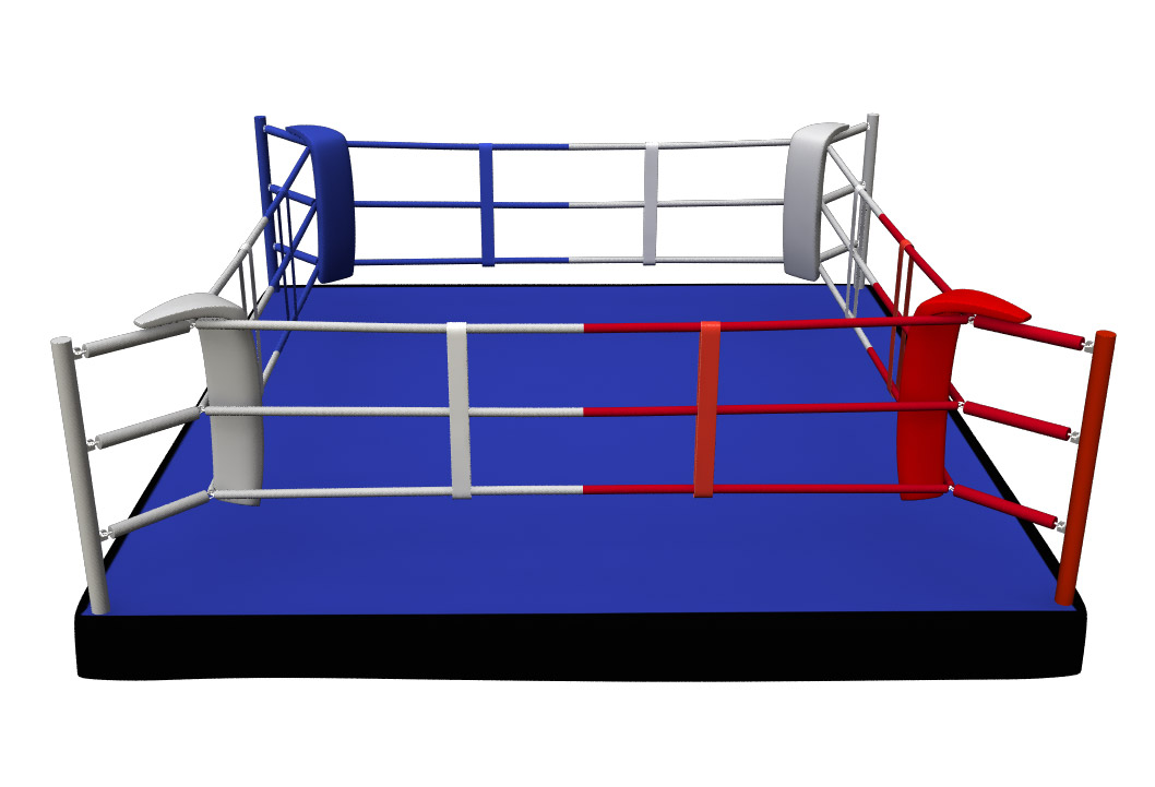 4Fighter Boxring Training PROFESSIONAL 5m x 5m / 3 Seile / Podest 30cm