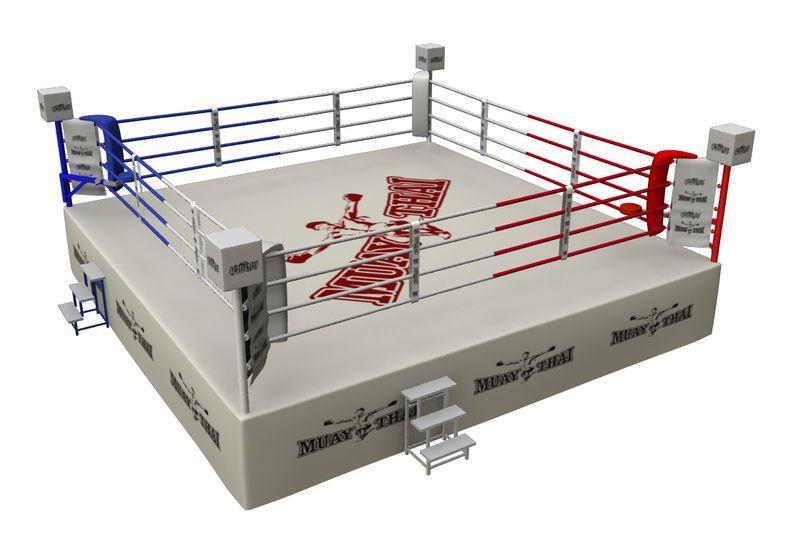 4Fighter Wettkampf Boxring Muay Thai 7x7m (außen) 6,1 x 6,1m (innen) / 4 Seile / 1 Meter hoch – Bild 1