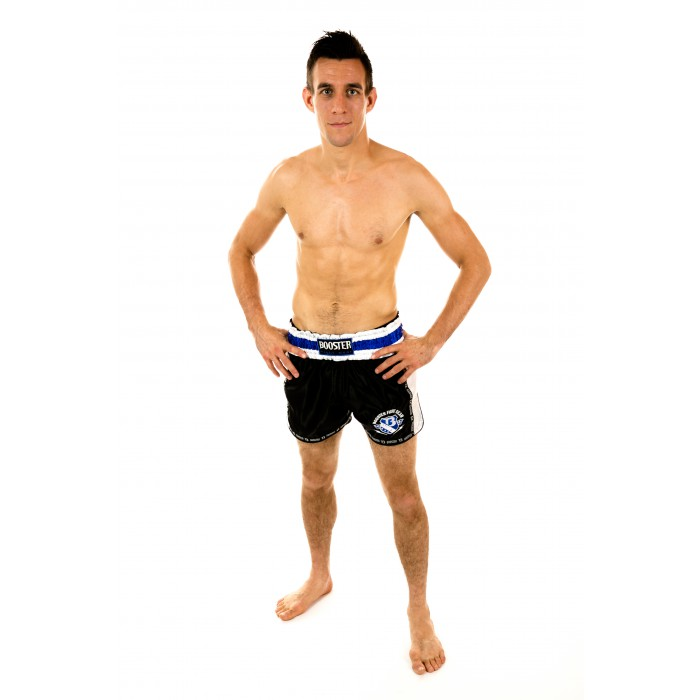 Booster Muaythai Shorts black silver with blue-white waistband and high slits at the sides – image 2