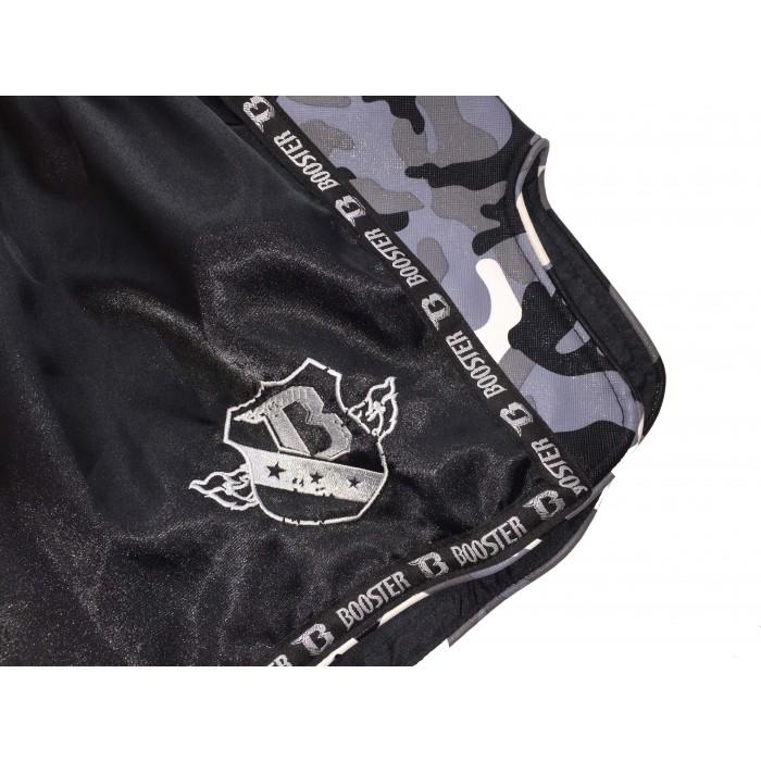 Stylische BOOSTER Muaythai Shorts in schwarz / seitlich camo grau – Bild 4