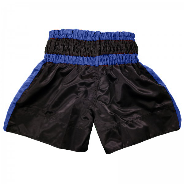 4Fighter Muay Thai Shorts Classic schwarz-blau mit 4Fighter Tribal Logo am Bein – Bild 2