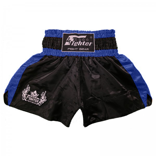 4Fighter Muay Thai Shorts Classic black-blue with 4Fighter Tribal Logo on leg – image 1