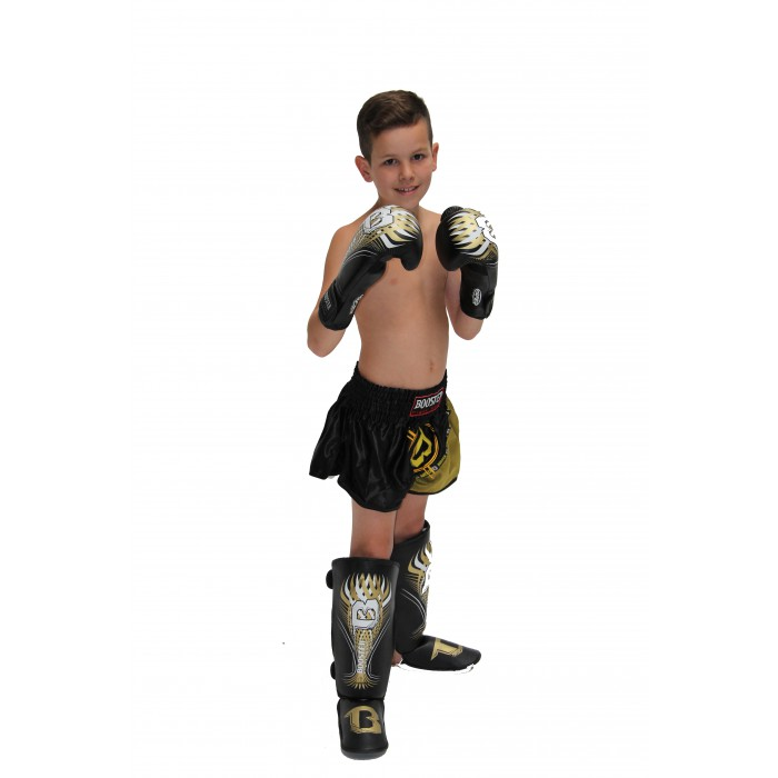 Booster BG Youth Gold Boxing Gloves Black-Gold with Tribal – image 2