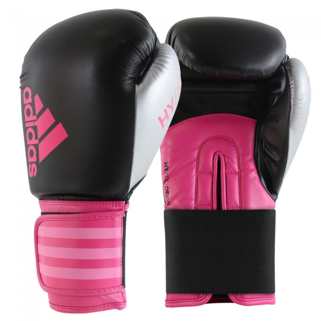 Adidas Hybrid 100 Dynamic Fit Boxing Gloves Black / Pink / Silver – image 1