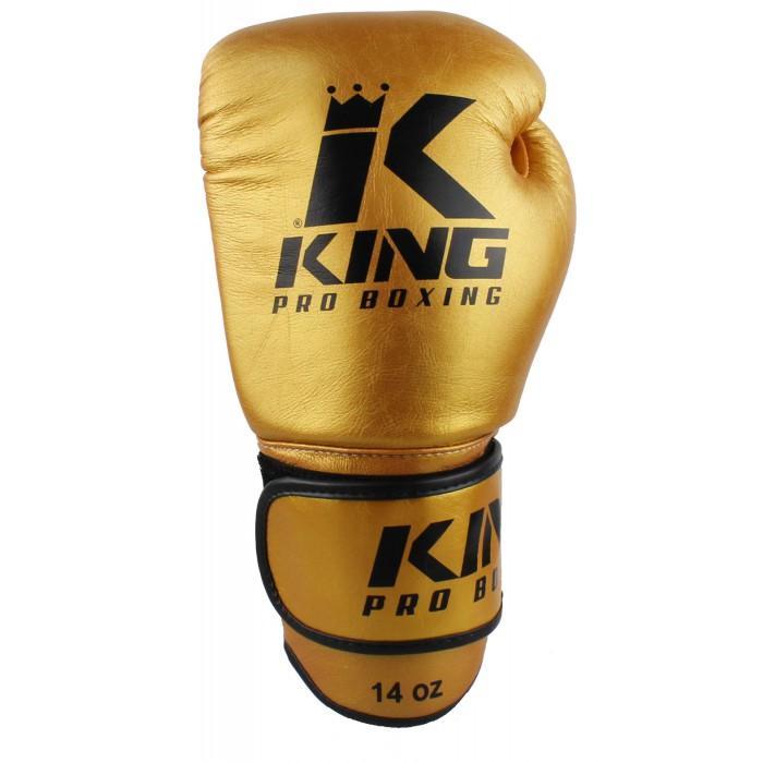 King PRO BOXING Leder Profi Boxhandhandschuhe gold-schwarz – Bild 1
