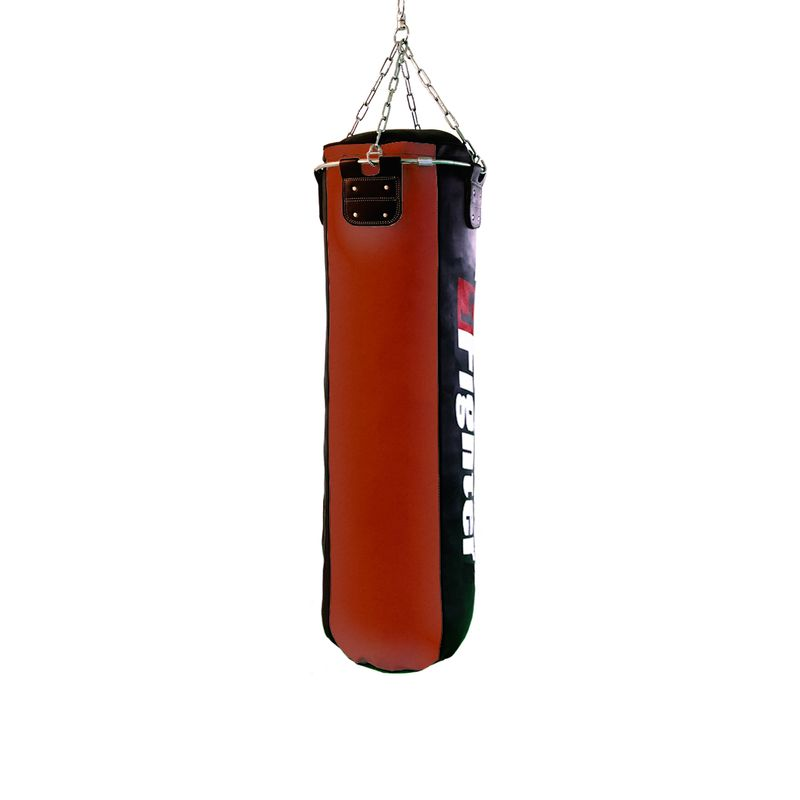 4Fighter professional imitation leather punching bag / sandbag - black / red, filled 150cm – image 2