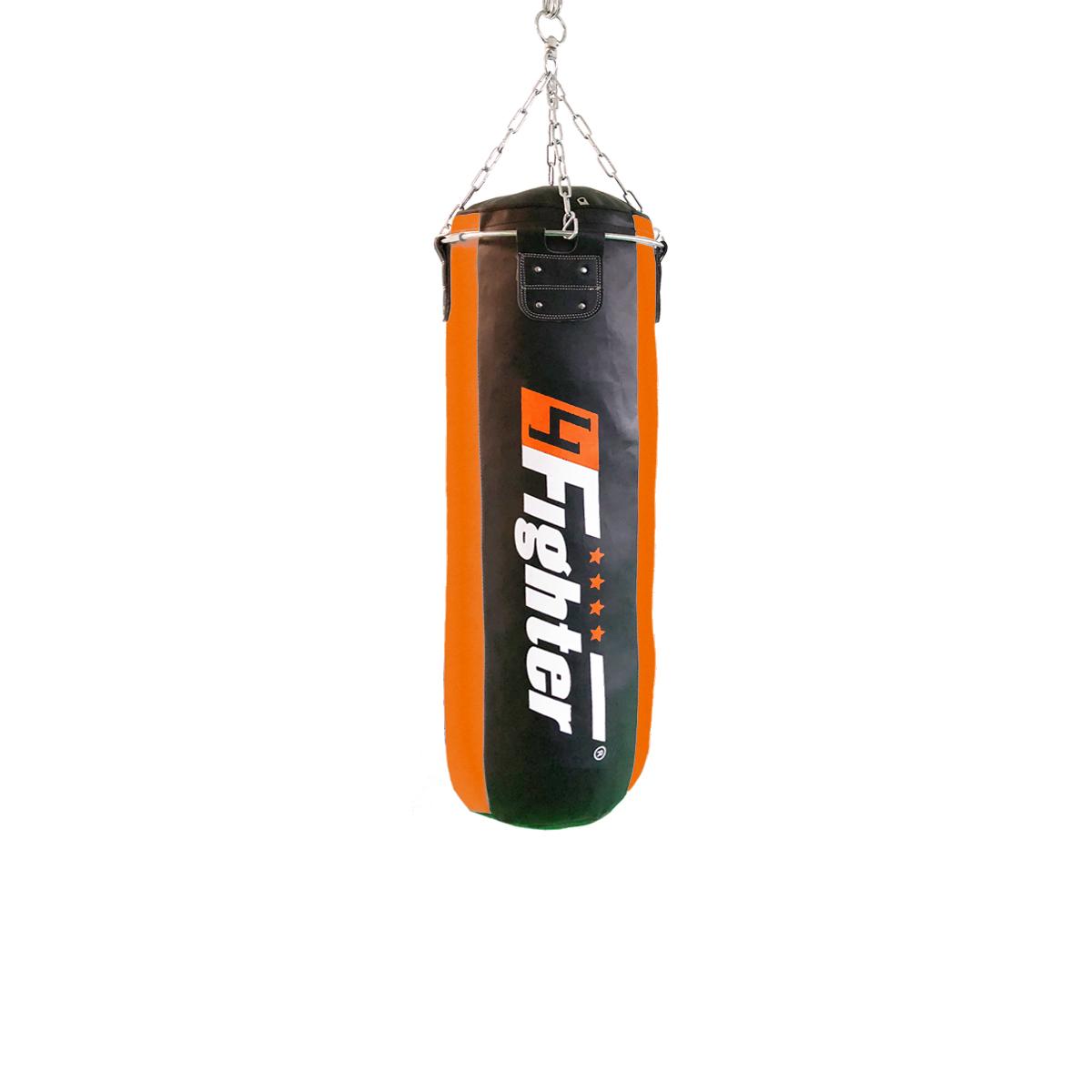 4Fighter Profi Kunstleder Boxsack / Sandsack - schwarz/orange, gefüllt 100cm
