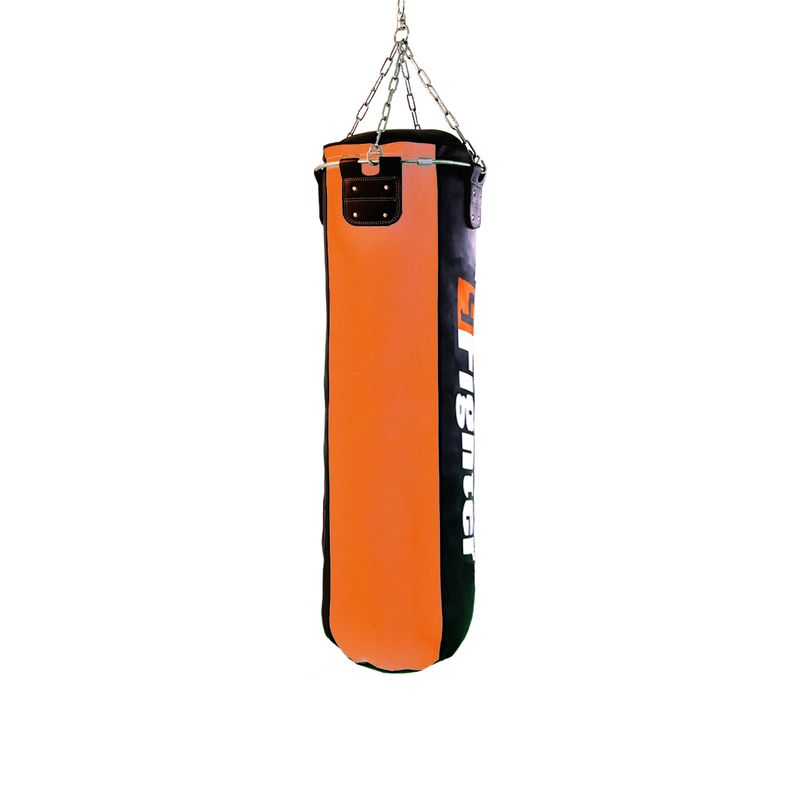 4Fighter professional imitation leather punching bag / sandbag - black / orange, filled 150cm – image 2
