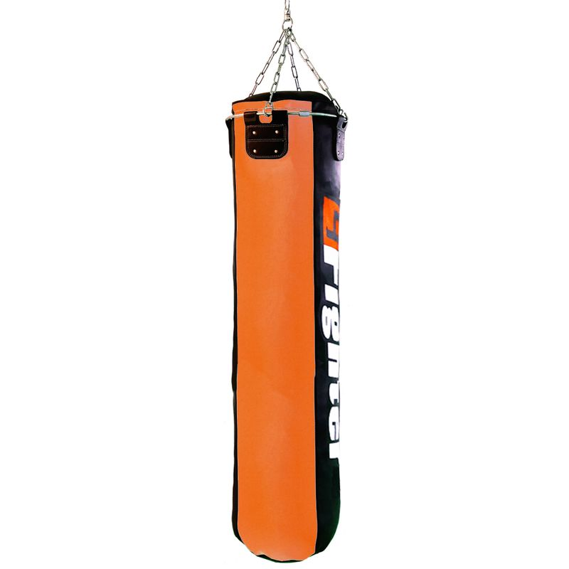 4Fighter professional imitation leather punching bag / sandbag - black / orange, filled 180cm – image 2
