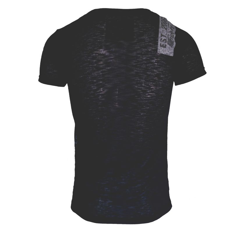 4Fighter Tissue V-Neck T-Shirt in black with a subtle gray temple Buddha logo print – image 2