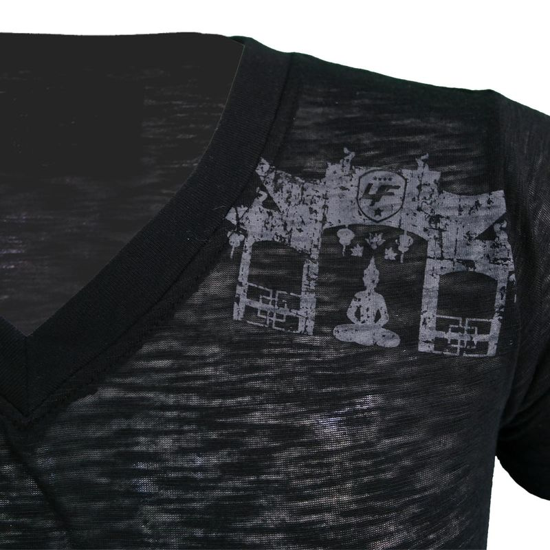 4Fighter Tissue V-Neck T-Shirt in black with a subtle gray temple Buddha logo print – image 5