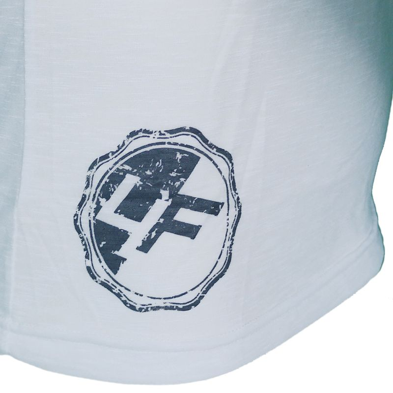 4Fighter Tissue V-neck t-shirt in white with a subtile gray temple Buddha logo print – image 8