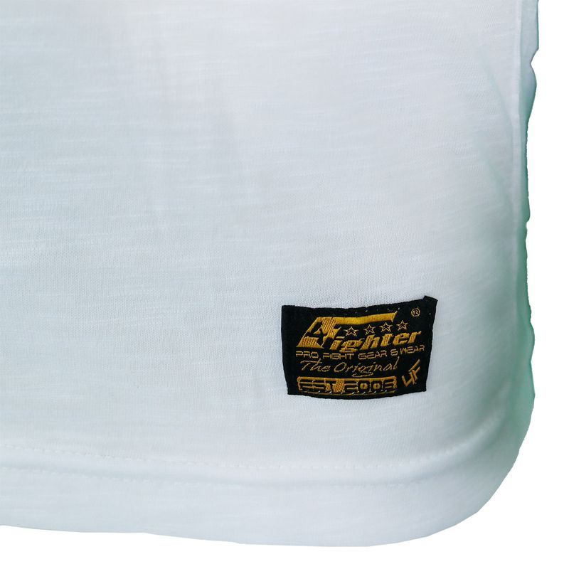 4Fighter Tissue V-neck t-shirt in white with a subtile gray temple Buddha logo print – image 9