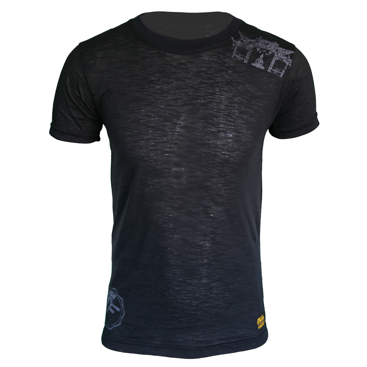 5c837464f11b54 4Fighter Tissue Round-Neck T-Shirt in black with a subtle gray temple Buddha