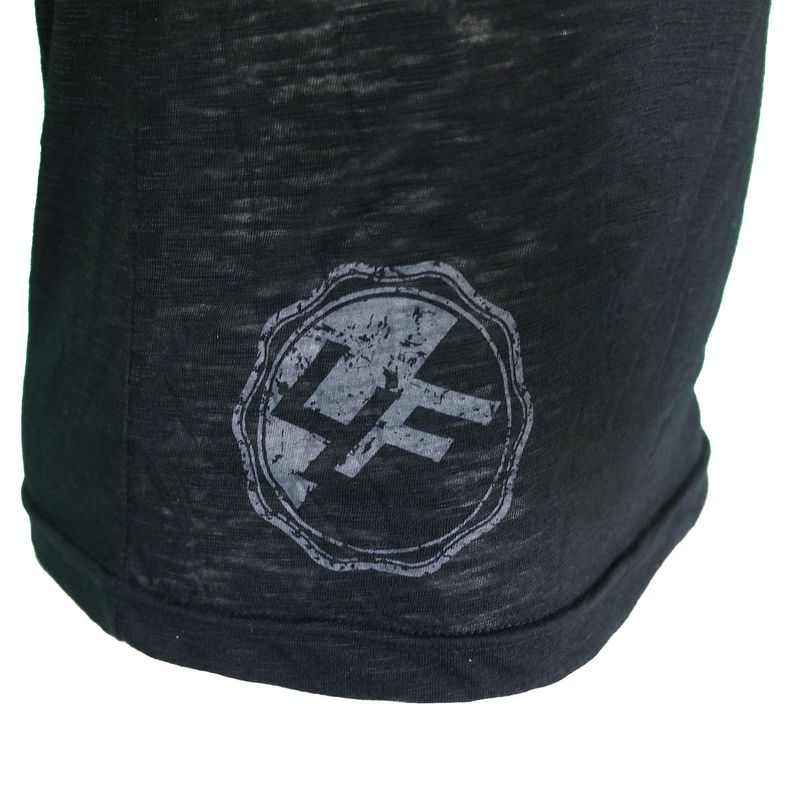 4Fighter Tissue Round-Neck T-Shirt in black with a subtle gray temple Buddha logo print – image 7