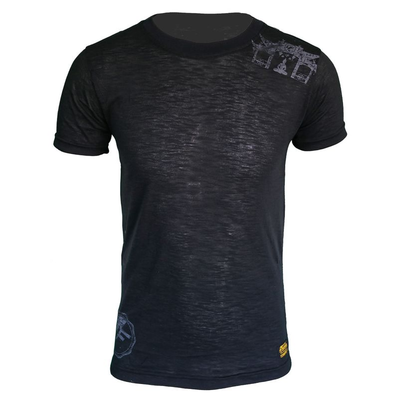 4Fighter Tissue Round-Neck T-Shirt in black with a subtle gray temple Buddha logo print – image 1