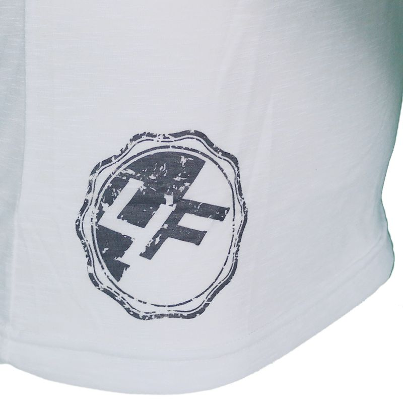 4Fighter Tissue Round-Neck T-Shirt in white with a subtle gray temple Buddha logo print – image 8