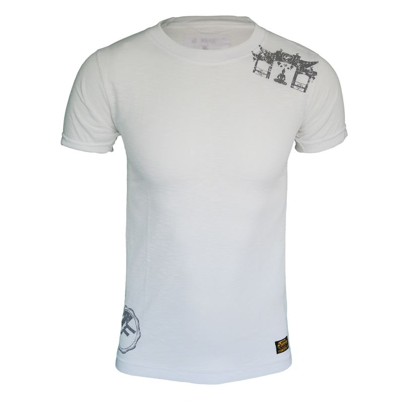 4Fighter Tissue Round-Neck T-Shirt in white with a subtle gray temple Buddha logo print – image 1