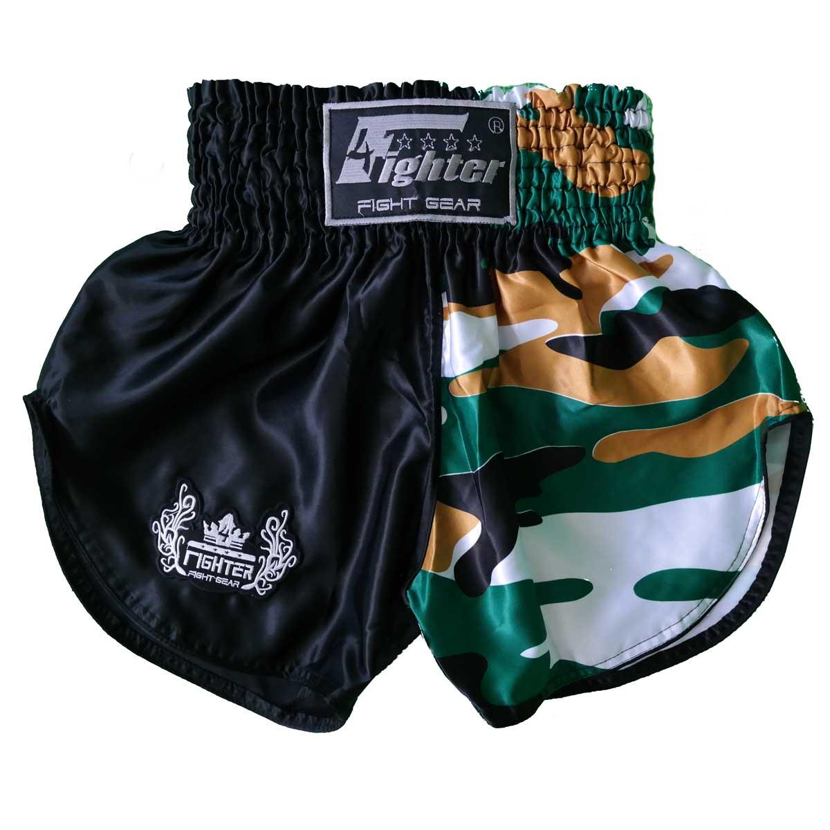 4Fighter Muay Thai Shorts schwarz camo braun-weiss / hohen Schlitzen